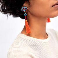 Wholesale Vintage Coral Earrings - 5 Colors New Colours Long Tassel Earrings Fashion Vintage ZA Statement Dangle Drop Earrings For Wedding Women Brand Jewelry