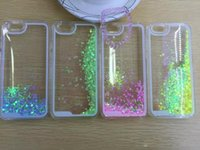 Wholesale Hard Plastic Clear Iphone4 Case - Quicksand Liquid Dynamic Hard Case floating glitter Heart Running clear transparent shining Cover For iPhone4 4s 5 5s 6 iphone 6 plus