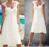 Wholesale Chiffon Pleated Skirt Short Long - Cheap A-line Cap Sleeve Sweetheart Pleats Empire Knee Length Chiffon Custom Casual Short Bridal Gown 2017 Beach Wedding Dresses