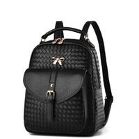 Wholesale Two Way Zippers - Women's PU leather bags backbag hot selling woven packet Restoring ancient ways Women Backpacks lady Mochila ZDD10261