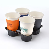 Wholesale Compartments Tray - 17.5*17.5*4.5C Cup Holder 4 Compartment Coffee Hot Drink Holder Takeaway Base Plastic Tray Packing Supplies Mixed Color 50Pcs Carton