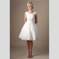 Wholesale Short Modest Homecoming Dress - Black White Modest Homecoming Dress Short Lace Knee Length Cap Sleeve Prom Dress