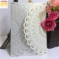 Wholesale Wholesalers For Invitation Papers - 12.8*18.6Cm Wedding Cards Invitation Card Gilding Paper Wedding Invitation Paper Art Hollow Design Marriage Cards For Bridal Shower