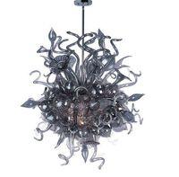 siyah avize camı toptan satış-LR1158-Black Vintage Murano Cam Zincir Avize Restoran Dekoratif Üflemeli Cam Tavan Aydınlatma Fantezi Yüksek Kalite ile LED Kolye