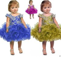 Wholesale Cupcake Caps - 2017 Lovely Cupcake Dresses Sequins Crystal Mini Glitz Flower Girl Pageant Girls dresses Formal Little Kids Birthday Party Gowns