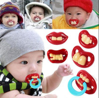 Wholesale Vampire Silicone Baby - Funny Silicone Baby Pacifiers Teether Dummy Novelty Teeth Moustache Vampire Dummy Nipple Teethers Kids Nipple 300pcs OOA2565