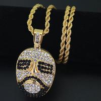 óculos para cabeças grandes venda por atacado-Novos Grandes Óculos Escuros Cabeça Pingente de Colar de Hip hop homens jóias bling bling N404
