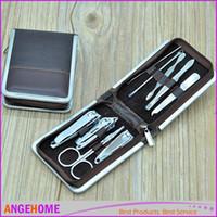 Wholesale Nail Scissors Tweezers - Portable 9pcs Set Steel Nail Art Manicure Set Nail Care Tools with Mini Finger Nail Cutter Clipper File Scissor Tweezers, With Storage Case