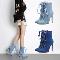 Femmes Sexy Denim Dentelle Ups Booty Mode Talons hauts Point Toe mi-mollet Bottes Stiletto Strap Chaussures Taille Eu 35-40 2017