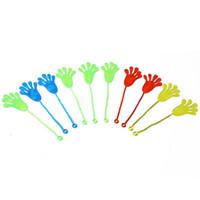 ручные шлемы для игрушек оптовых-Wholesale- 10pcs Mix Color Kids Children Squishy Hands Toy Stretchable Sticky Stick Slap Palm Novelty Party Supplies Fun