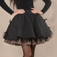 Wholesale Skirts Woolen Short - XXL fashion Casual Pleated fluffy Vintage Pleated short skirts Plus Size original design Lolita Black and white dots Puff lace short skirt