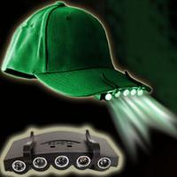 ingrosso torce a led luminose-5LED Fanale anteriore HeadLamp Flashlight Cap Hat Torch Head Light Lampada da pesca esterna Camping Caccia Clip-On Super Bright