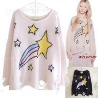 Wholesale Long Style Blouse Patterns - Fashion women pullover star pattern punk knitwear coat ladies hollow loose pullovers crochet blouse sweater tops jumper