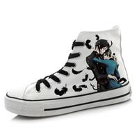 zapatos de niño pintados al por mayor-Al por mayor-Hombres Mujeres Anime Black Butler Pintado a mano Zapatos de lona High-Top Boys Girls Graffiti Zapatos de dibujos animados Cosplay Flat Shoe