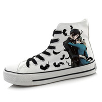 Wholesale Men Women Anime Black Butler Hand Painted Canvas Shoes High Top Boys Girls Graffiti Cartoon Shoes Cosplay Flat Shoe