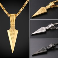 Wholesale cool gifts for men - U7 Arrowhead Pendant Necklace Gold Black Gun Plated Stainless Steel Warrior's Arrow Punk Hiphop Jewelry For Men Cool Jewelry Gift GP2536