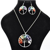 Wholesale Chip Tin - Women Rainbow 7 Chakra Amethyst Tree Of Life Quartz Chips Earrings & Necklace Jewelry Set Multicolor Wisdom Tree Natural Stone Necklace A133