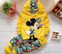 Wholesale Girls Velour Suit - 2016 spring Autumn Fashion baby boy girl Cartoon Design Minnie terry Hooded Full Sleeve+pants 2pcs sets baby Clothing Set baby Suit