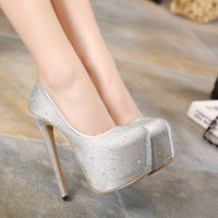 Wholesale High Head Water Pump - New sexy satin surface water party 16 cm high with fine with round head women's shoes