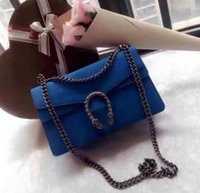 Wholesale Ship Pursed Brand Name - GG Brand Handbag Luxury Brand Womens Purse Famous Brand Name Bag Blue Suede Leather Bags Free Shipping Real Leather Chain Bag Handbags