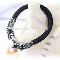 ingrosso braccialetti in argento tibetano uomo-Bracciale in argento tibetano da uomo in pelle in 3 dimensioni titanio moda gioielli vintage accessori parataxis drago bracciale gioielli uomo