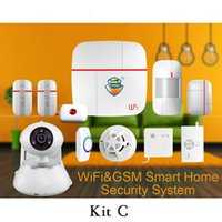 Wholesale Smoke Detector Gas Leak - Wholesale- (1 set Kit C)Vcare Aalarm Intelligent Wifi&GSM Home Alarm System with Wireless Smoke Gas Water leak detector PIR Motion