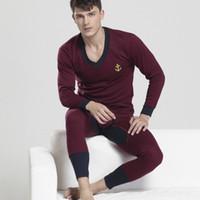 Wholesale Thermal Underwear Sets For Men - Wholesale-1 set(tops&pants) men's deep V-neck Invisible winter thermal underwear warm cotton long johns for men soild color