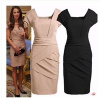 Wholesale Dress British Princess Kate - New British Princess Kate Kate same paragraph OL commuter Slim Slim dress nude color FREE SHIPPING