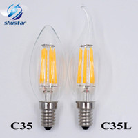 Wholesale Dimmer E27 - Dimmable E14 E12 Filament Led Lamp 220V 110V 2W 4W 6W Led Edison Bulb Glass Dimming Filament Candle Lamps Christmas Lights