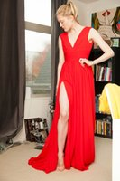 Wholesale Transparent Sexy Models - New Red Evening Dresses 2018 Deep V-Neck Sweep Train Piping Side Split Modern Long Skirt Cheap Transparent Prom Formal Gowns Pageant Dress