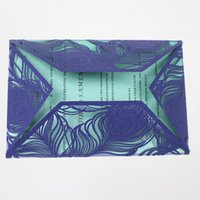 Wholesale laser cut cards holiday - Shining blue feather invitation envelop with inner card laser cutting birthday celebration party greeting card party supply