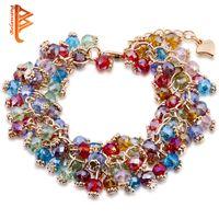 Wholesale Beaded Items - BELAWANG Hot Item Colorful Stone Charm Bracelets&Bangles Fashion Crystal Stone Gold Bracelets For Women Friendship Bracelets Femme Jewelry