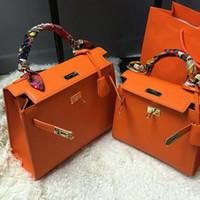 Wholesale Handbags Paris - Kelly Her bag women tote bag Paris luxury brand leather handbags with scarf business shoulder bags fashion famous brand women bags purse