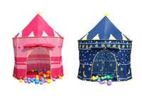 château jouet bleu achat en gros de-Kids Play Tentes Teepee Prince et Princess Palace Castle Enfants jouant à l'intérieur en plein air Toy Tent Game House rose et bleu