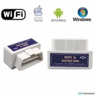 Wholesale Wifi Elm Interface - Wholesale-White Color Super MINI Wifi ELM327 ElM 327 OBD 2 II Car Diagnostic Tool OBD Scanner Interface Support Android & IOS System