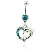 Bagues à ventre à mode Bague chirurgicale Barbell Dangle Blue Rhinestone Dolphin Heart Navel Body Piercing Jewelry