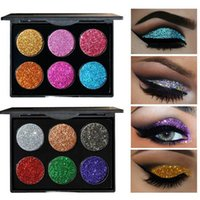 Wholesale Rainbow Magnets - 6 Color Glitter Injections Pressed Glitters Single Eyeshadow Diamond Rainbow Make Up Cosmetic Eye shadow Magnet Palette