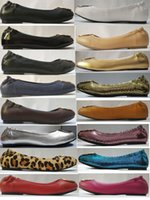 Wholesale Ladies Black Silver Shoes - 16 Colors Famous Brand Designer Slip On Gold Metal Buckle Sheepskin Genuine Leather Ballet Flats Casual Loafers Lady Women Shoes Sz 35-41