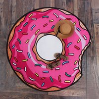 Wholesale Pizza Brands - Brand New Hamburger Donut Pizza Polyester Round Beach Towel Sunscreen Shawl 3D Tapestry High quality Yoga Mat