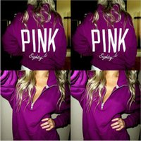 Wholesale Outerwear Women Pink - Pink Hoodies Love Pink Jackets Women Pink Letter Sweatshirts Print Floral Pullover Hoodie Fashion Coat Long Sleeve Outerwear Shirt Tops 3304