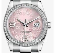 relógios automático novo 36mm venda por atacado-Alta qualidade Flor rosa Cristal unisex novo arrivel Automático Mecânico Relógio de Pulso 36mm presente 116244