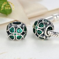 Wholesale Silver Clover Bead Charms - Sterling Silver Charms 925 Ale Heart Green Clover Charms for Jewelry Bracelets DIY Fixed Beads Accessories Free Shipping
