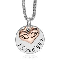Wholesale Silver Angle Charms - I Love You Heart Shape Pendant Rose Gold Angle Wing Round Pendant Necklace Loves Gift Necklace Handstamped Mother's Day Gift 8