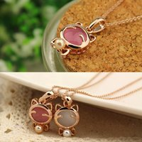 Wholesale Lucky Cat Charms - 1PC Dazzling 18k gold plated Cute Lucky cat eye stone pearl bow necklace C00541