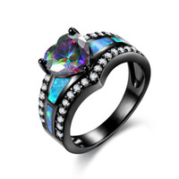 Wholesale Rainbow Heart Party - Black Plated Rainbow Blue Green Purple Stone Blue Opal Heart Rings For Women Fashion Jewelry Cocktail Ring Gift