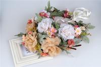 Wholesale Headbands Big Flowers - Children garlands bride big flowers garlands jewelry garlands Cloth headdress photography hair accessories beach headband A8362