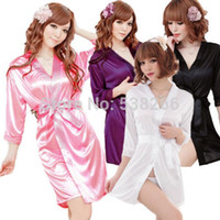 Wholesale Wholesale Kimonos - Wholesale-Free shipping Sexy SILK and LACE Kimono Dress Gown Bath Robe Babydoll Lingerie+G-string #lgf