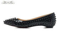 Wholesale comfort career shoes for sale - WBF999B Size Women s Black Patent Leather With Spikes Slip On Pointed Toe Flats Ladies Luxury Brand Spring Autumn Comfort Casual Shoes