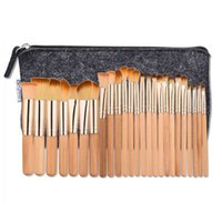 Wholesale Metal Bushes - New Arrive 25pcs Professional Make-up Brushes Kits Wooden Rose Gold Tube Foundation Eyeshadow Bush set With Portable Bag