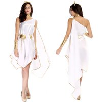 Wholesale halloween greek goddess - White Black Greek Goddess Cosplay Long Dress One Shoulder Open Chest Sexy Night Party Clothing Adult Women
